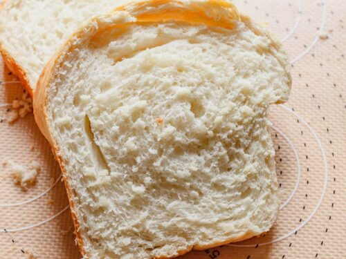a single slice of homemade white bread