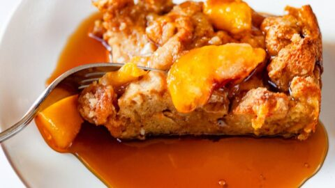 peach cobbler french toast on a plate with form
