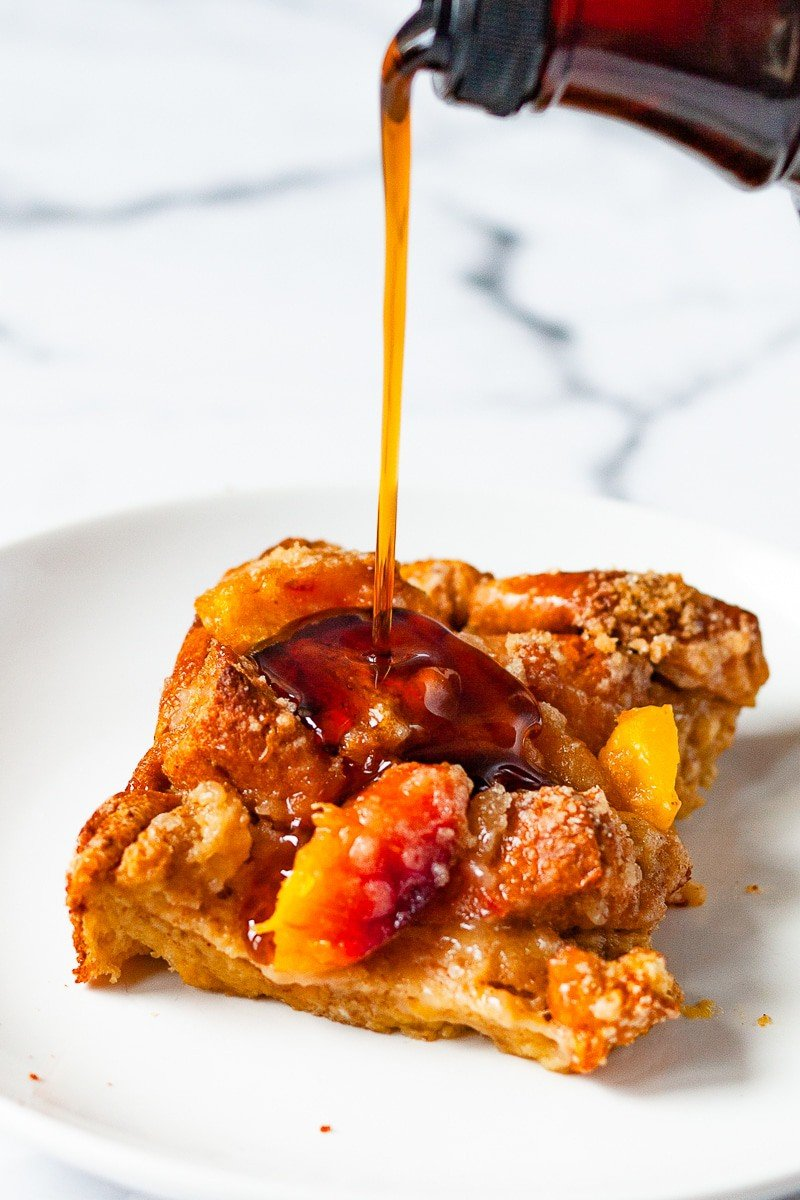 syrup poured onto french toast casserole