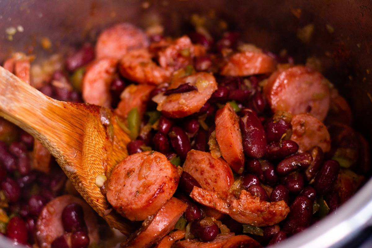 sauteed sausage and beans