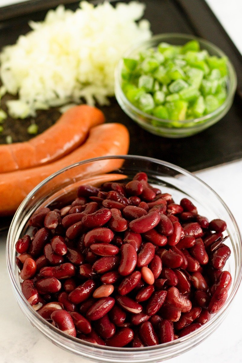 Louisiana red beans and rice ingredients