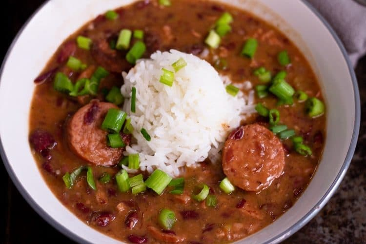 a bowl of red beans and rice