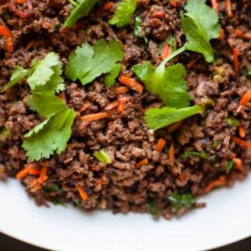 cooked ground beef stir fry close up