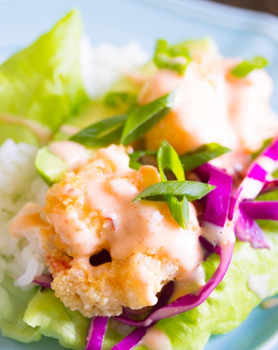 bang bang sauce over shrimp