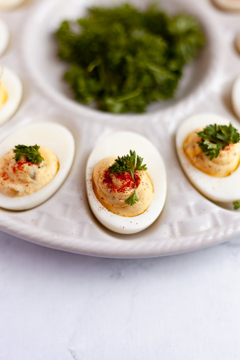 deviled eggs on a try vertical