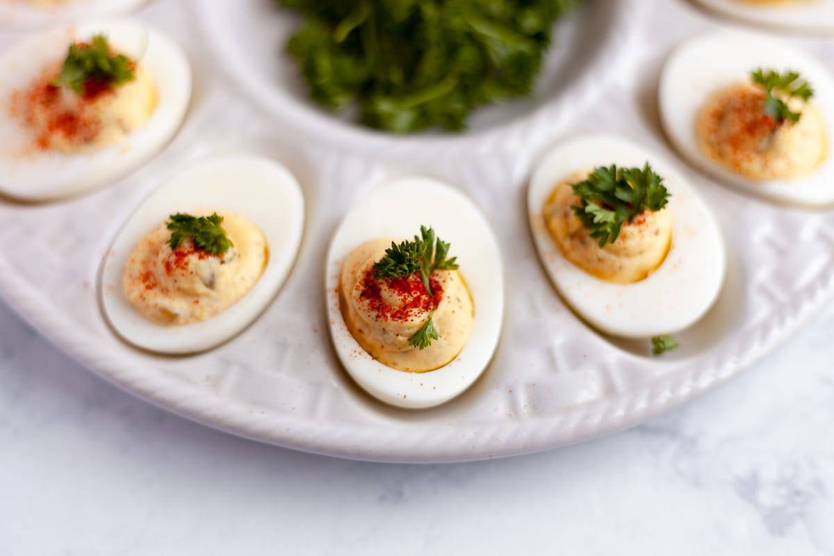 stuffed eggs on a try close up