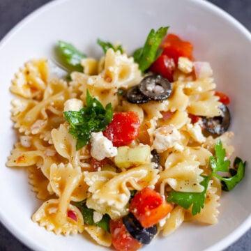 individual bowl of greek pasta salad