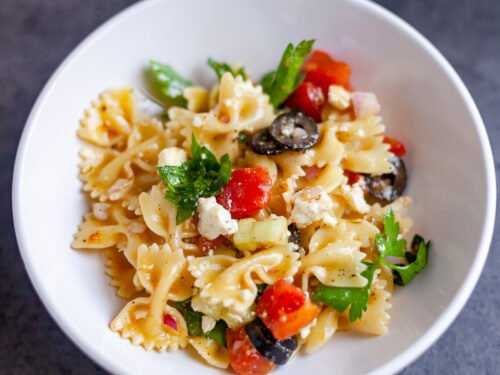 individual bowl of greek pasta salad