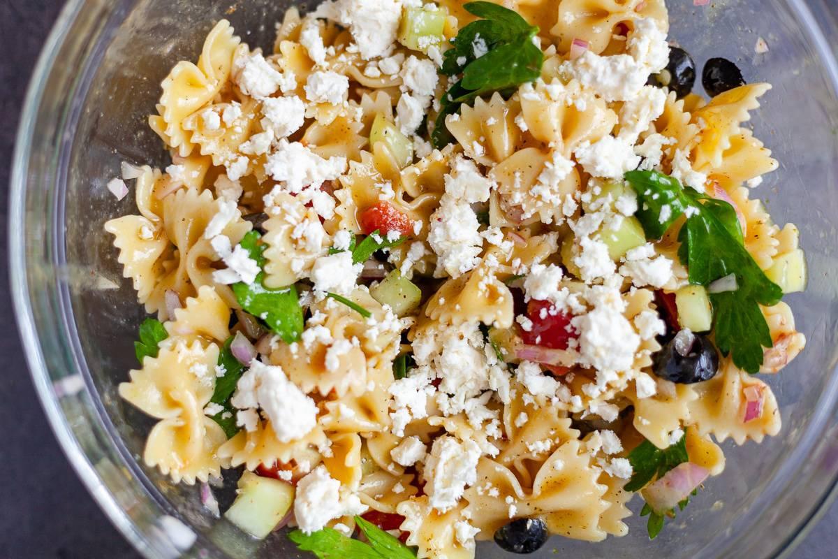 large bowl of pasta salad