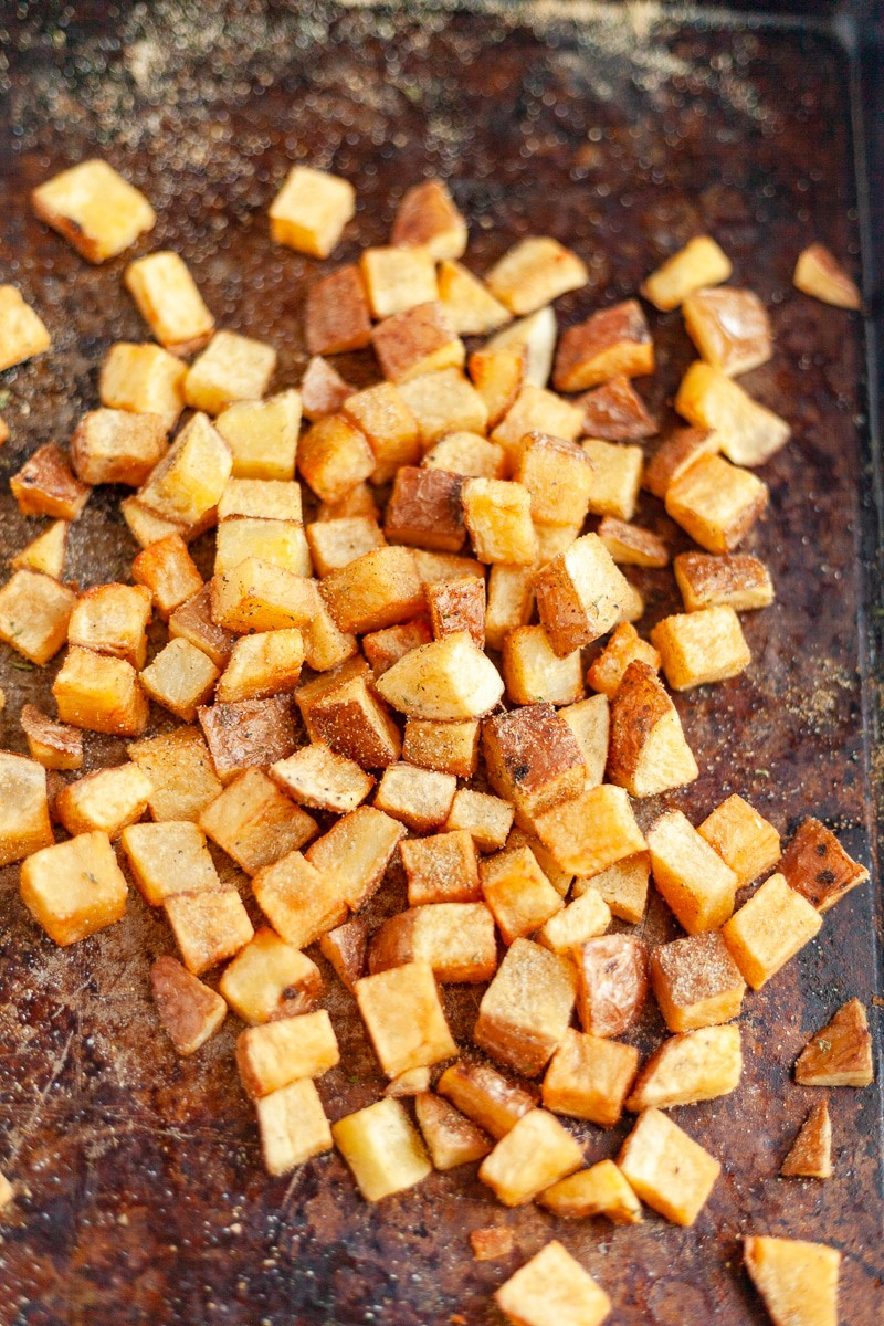 home fries on a sheet pan vertical image