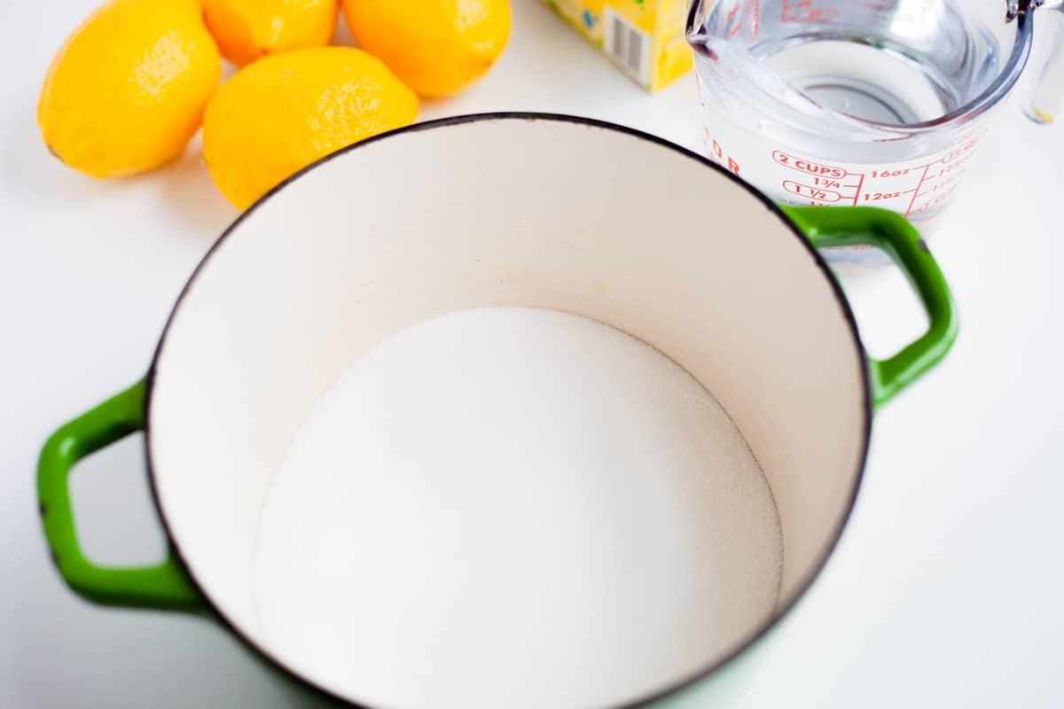 sugar in a pot
