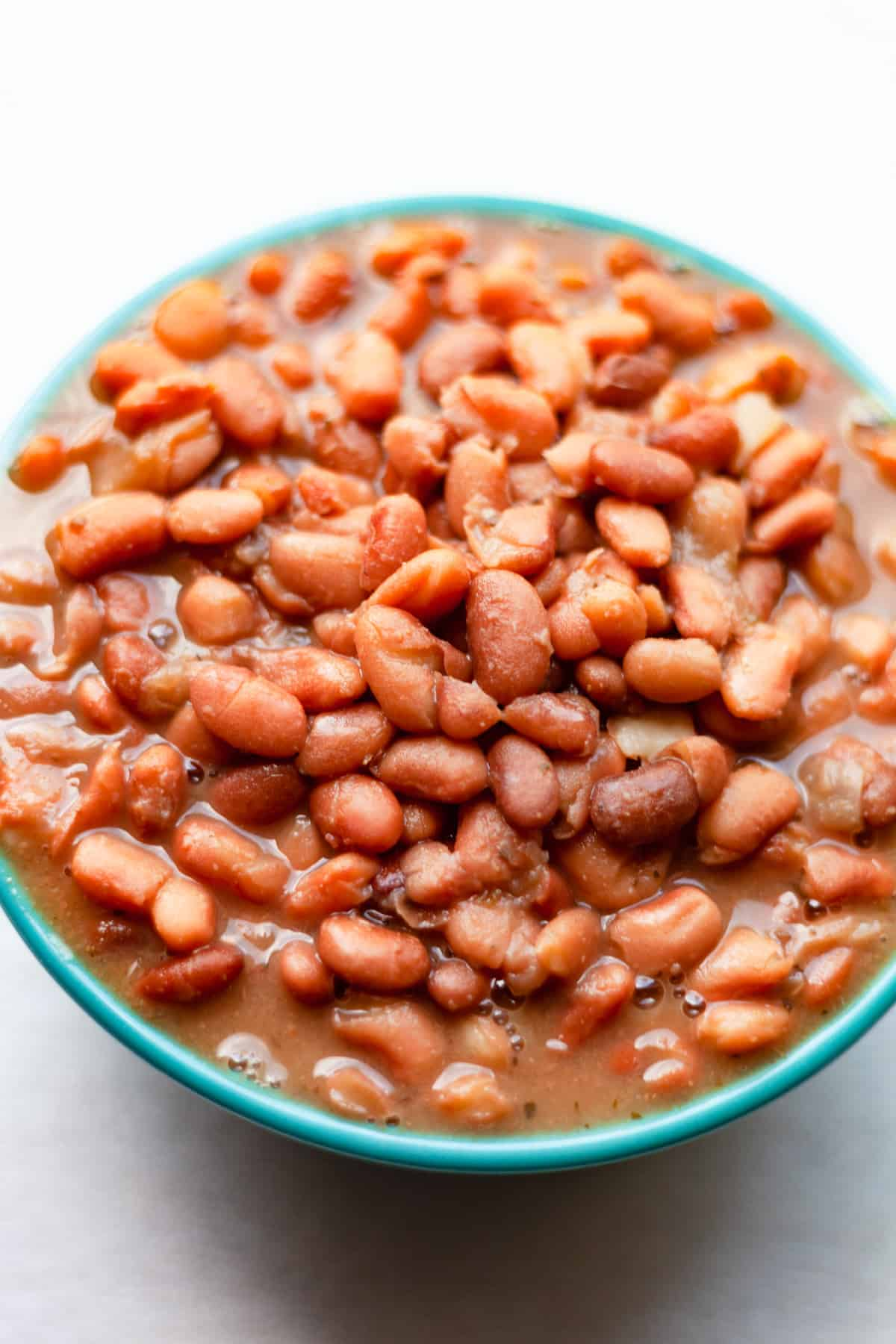 a bowl of pinto beans close up