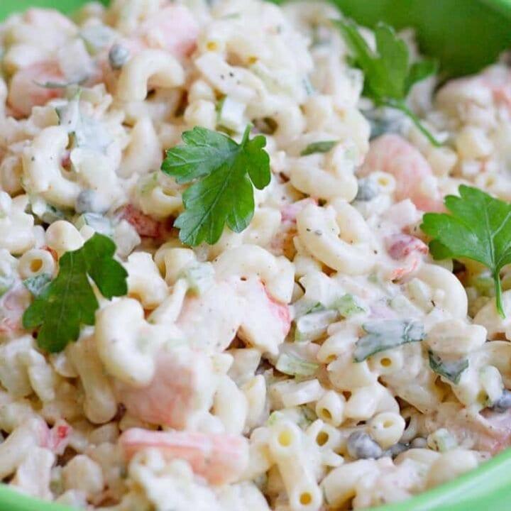 a bowl of seafood macaroni salad