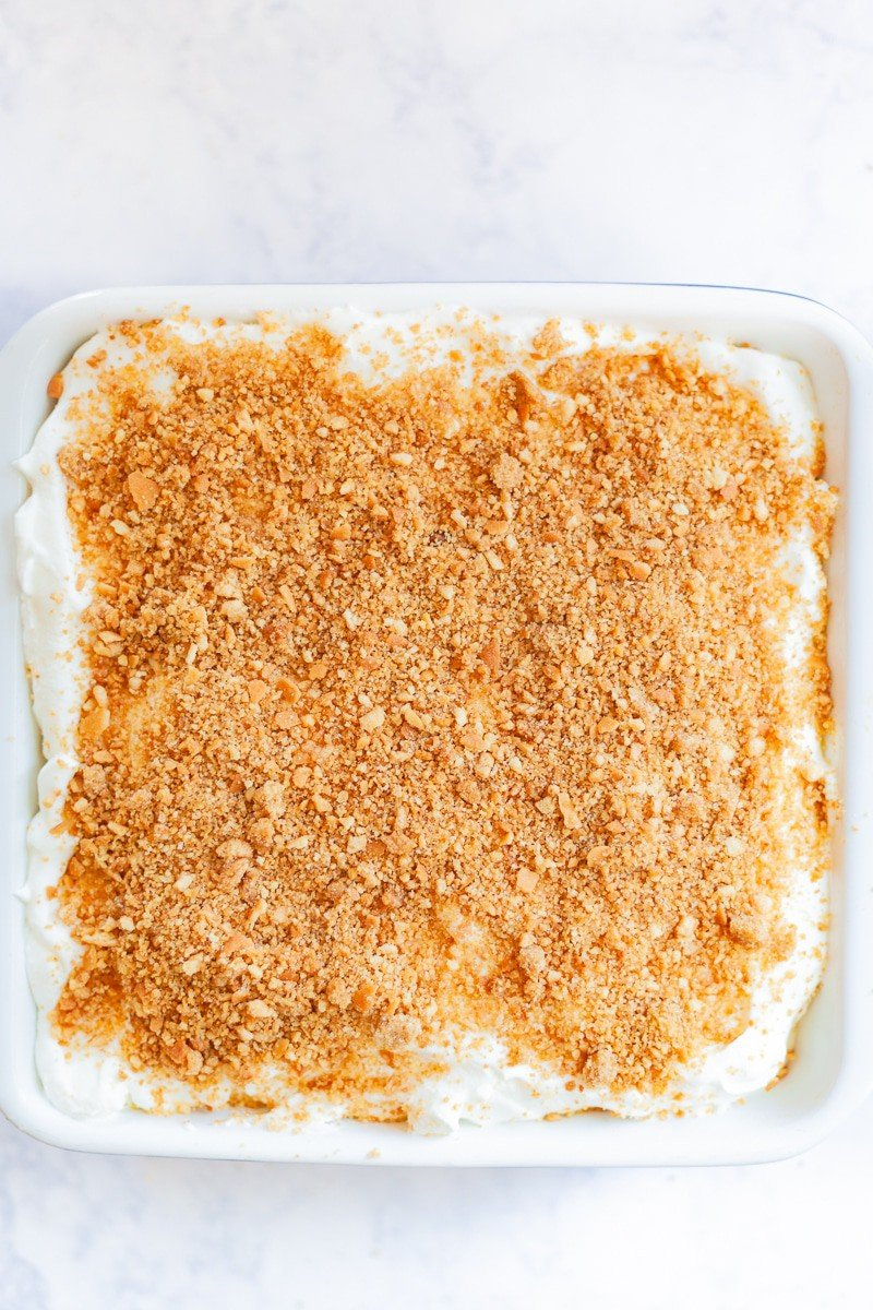 cookie crumb topping on homemade banana pudding