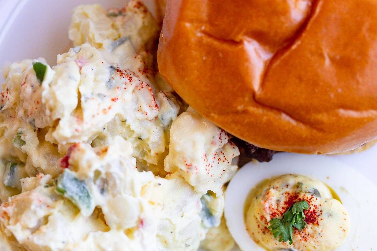 the perfect cookout plate with potato salad