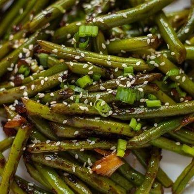 stir fried green beans close up