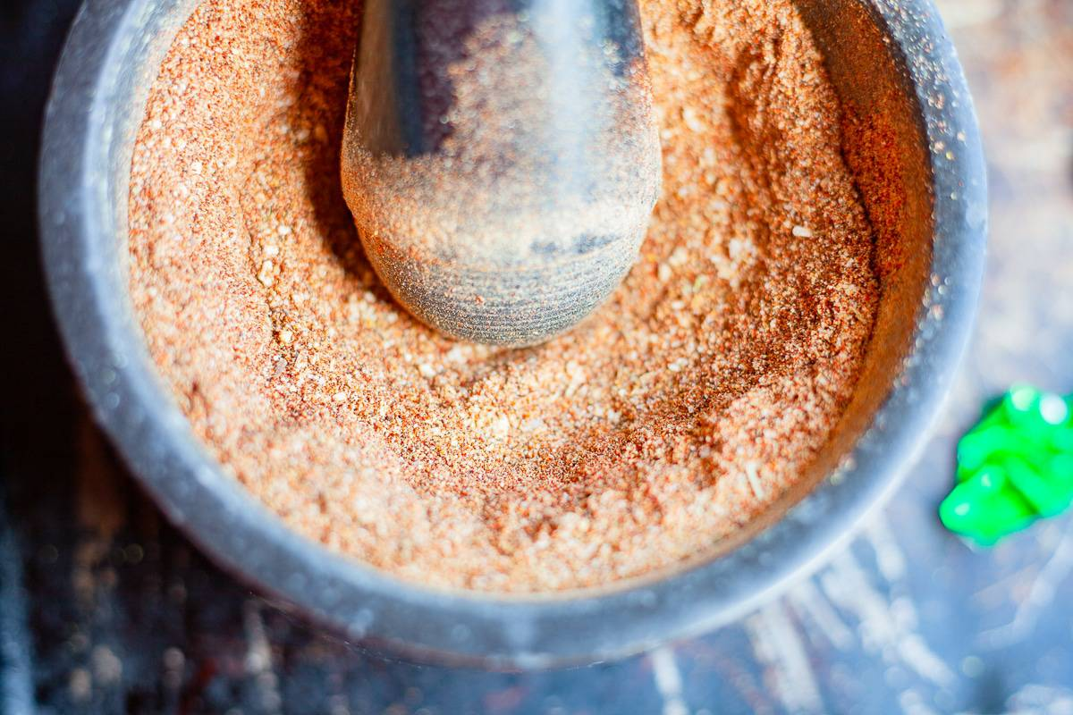 taco seasoning in a mortar and pestle