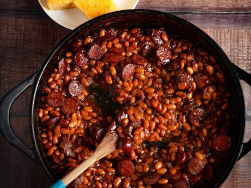 Homemade Smoked Sausage Baked Beans with Bacon