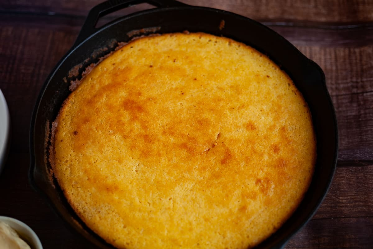 buttermilk cornbread in a cast-iron skillet