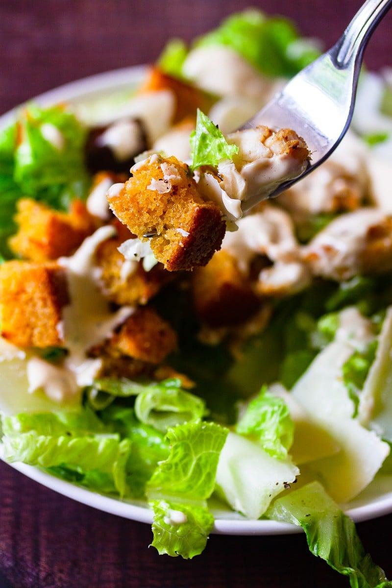 caesar salad on a fork