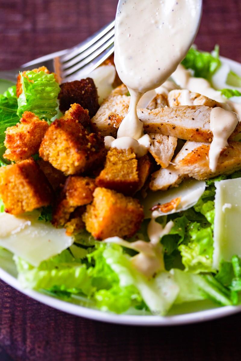 salad dressing on salad