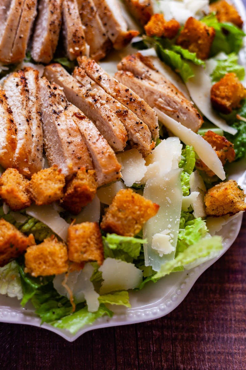 caesar salad close up vertical