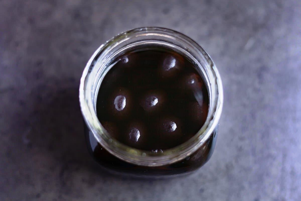 black olives in a jar