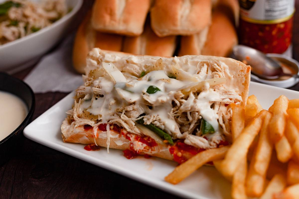 chicken cheesesteak with hot peppers and mayo