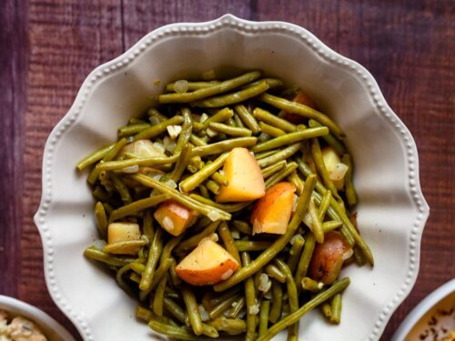 green beans and potatoes in a bowl