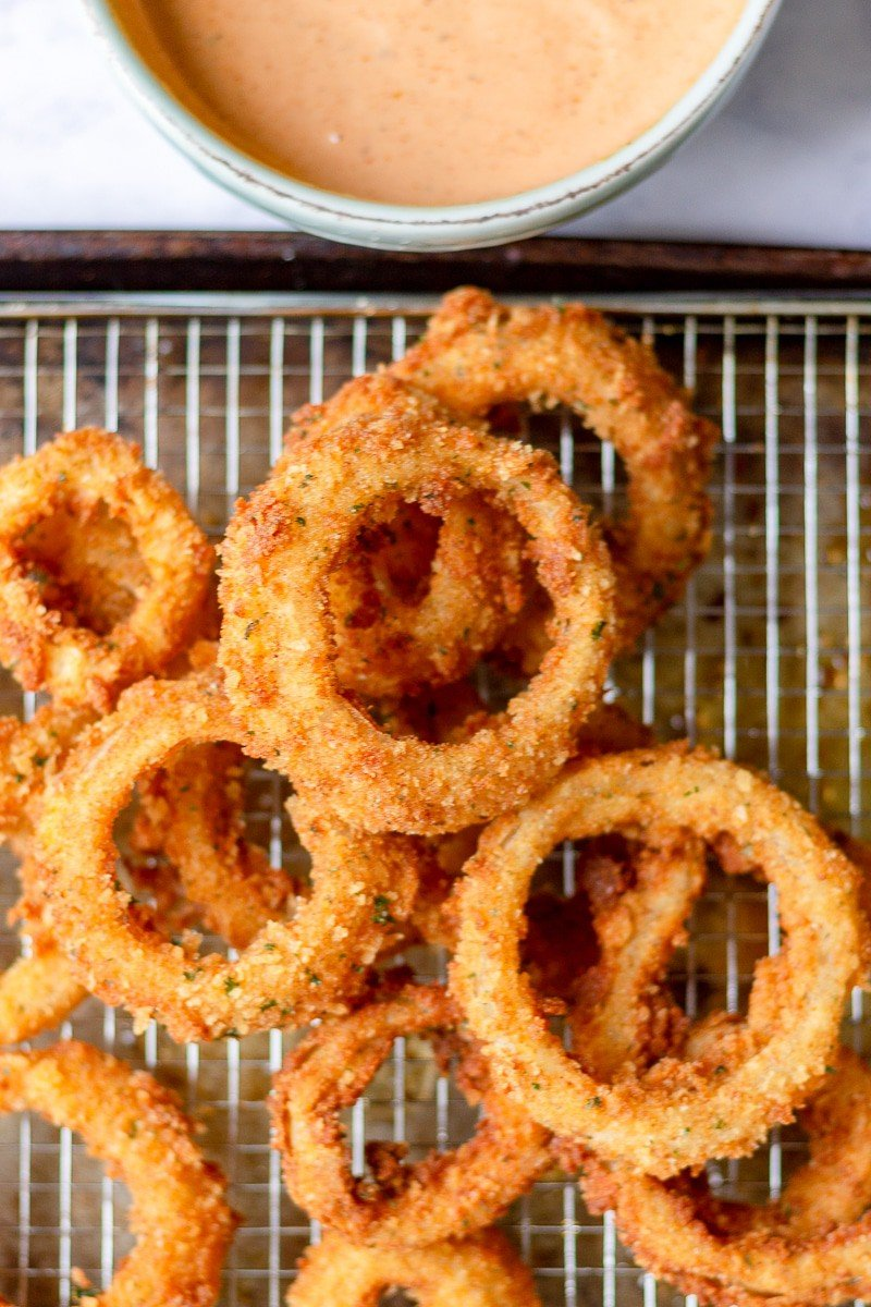 onion rings on a wire rack