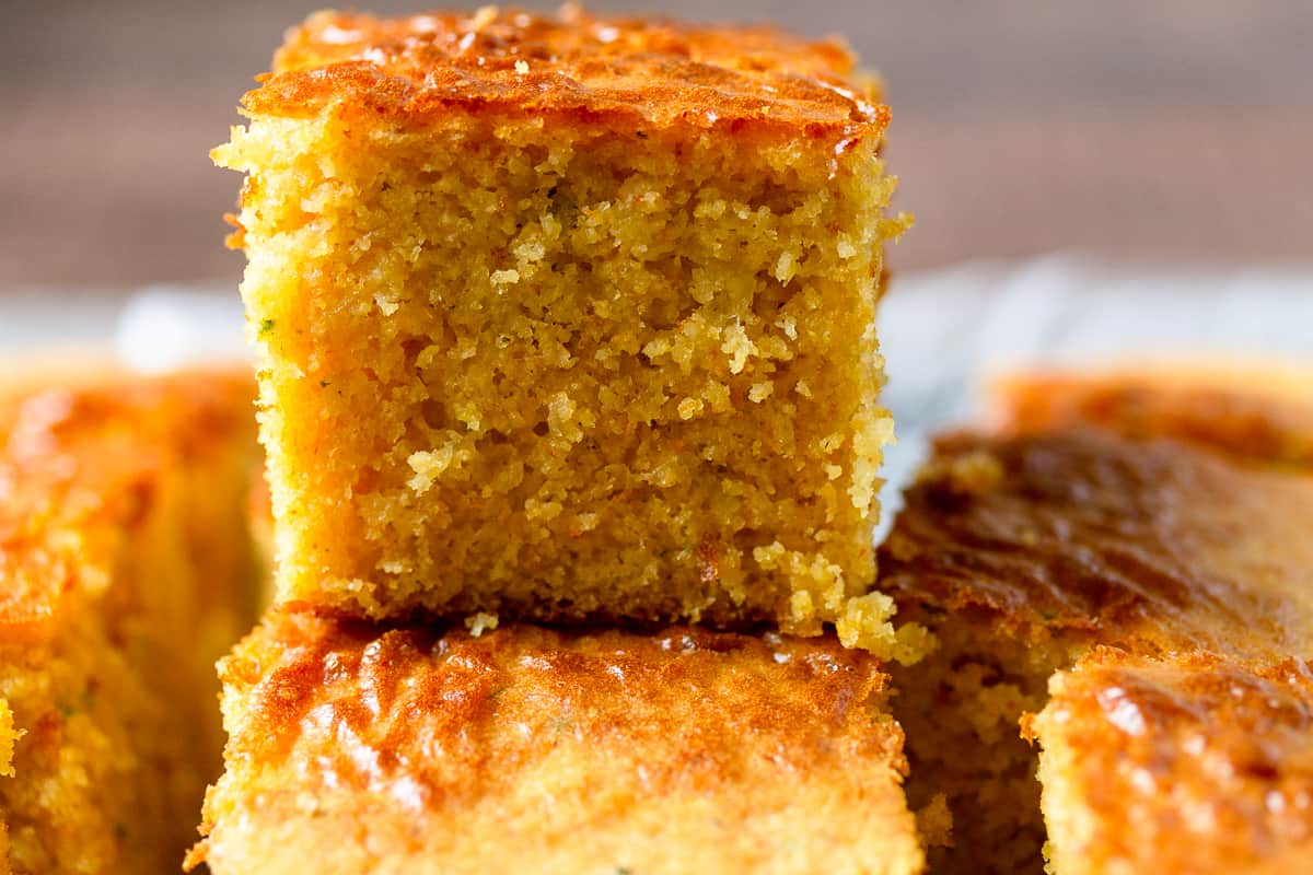 parmesan cornbread stacked
