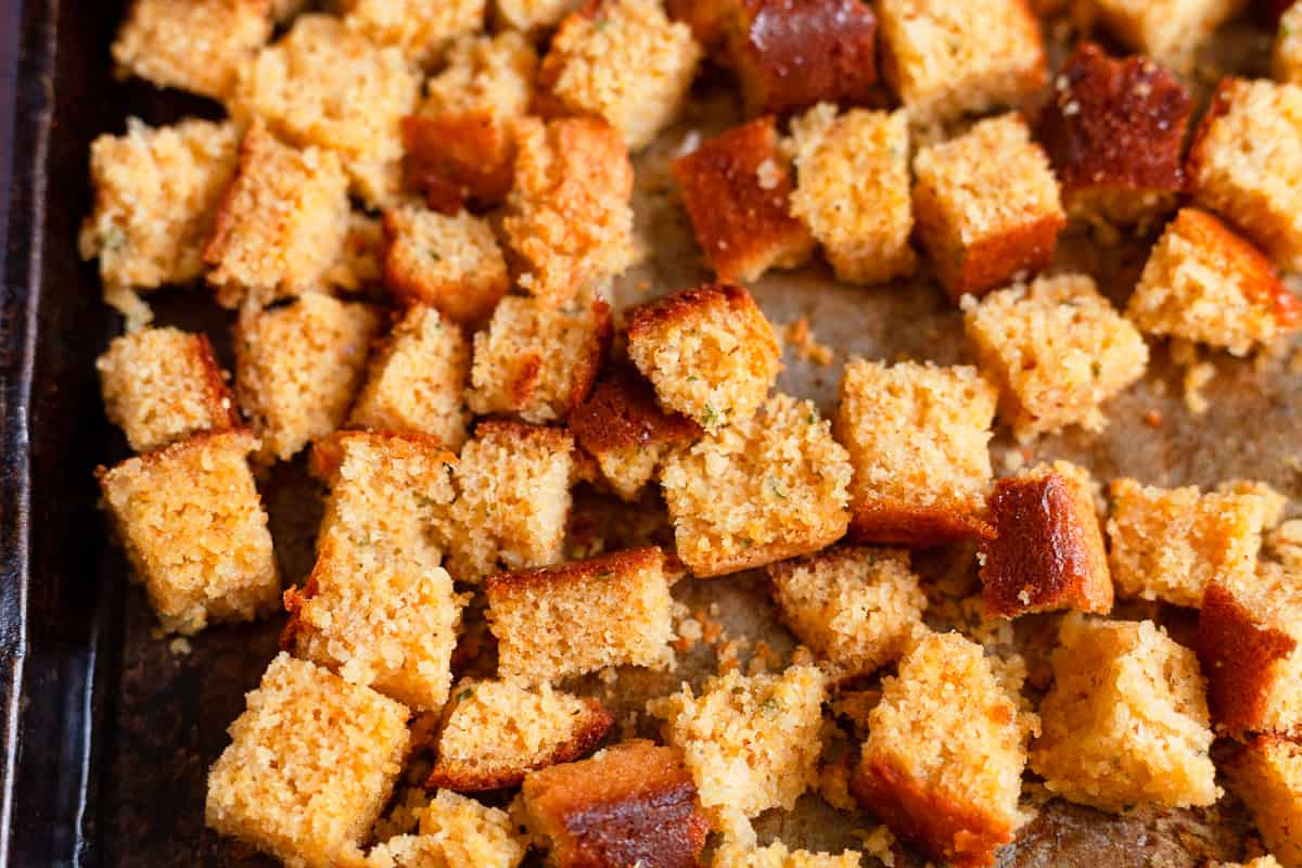 diced cornbread for croutons