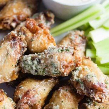 close up of garlic parmesan wings