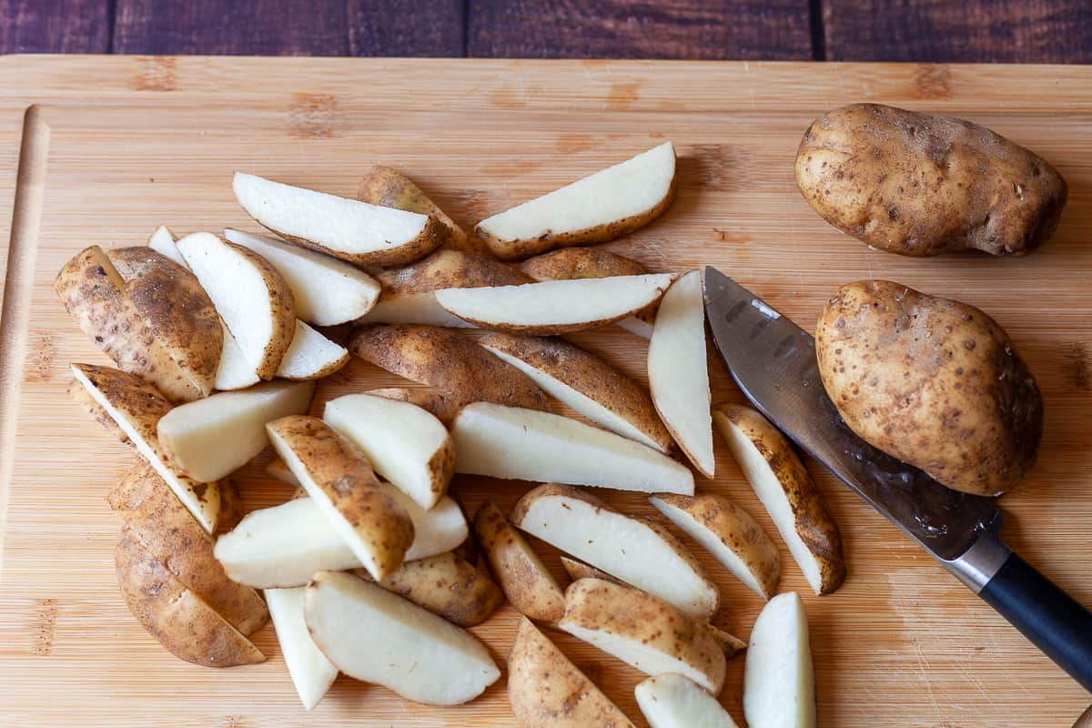russet potatoes cut into wedges