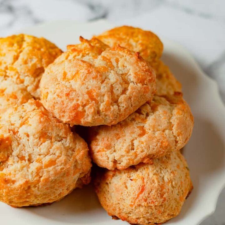 cheddar drop biscuits on a plate