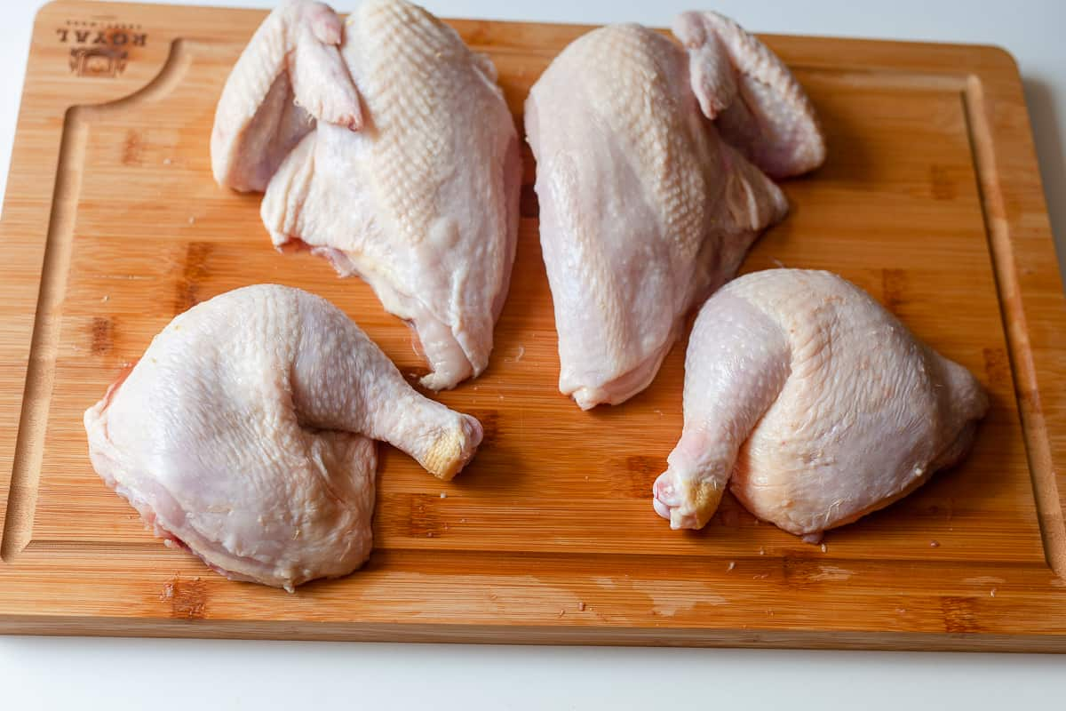 quartered chicken