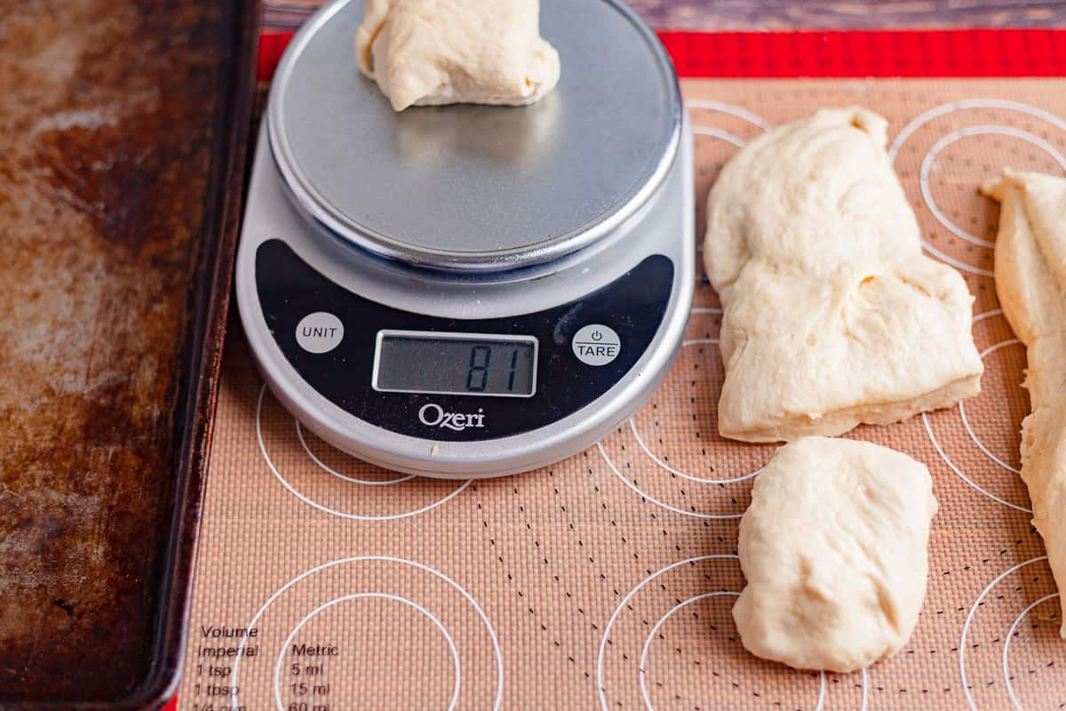 weighing dough