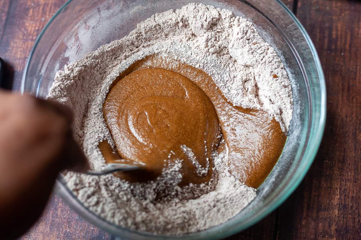 wet ingredients in dry cookie dough