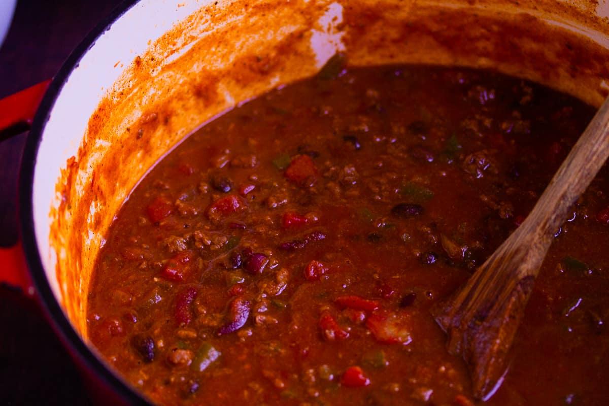 finished pot of chili close up