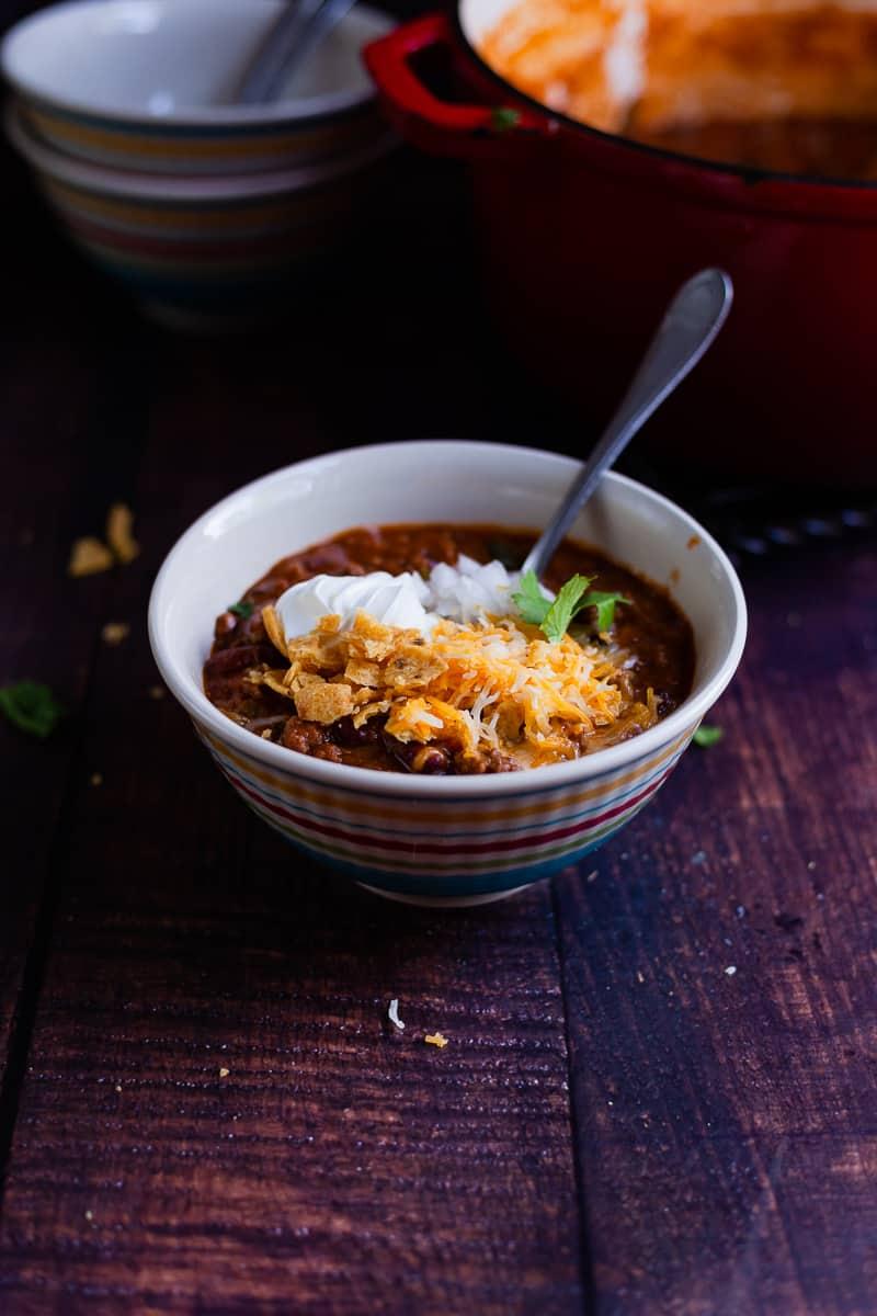 bowl of stovetop chili