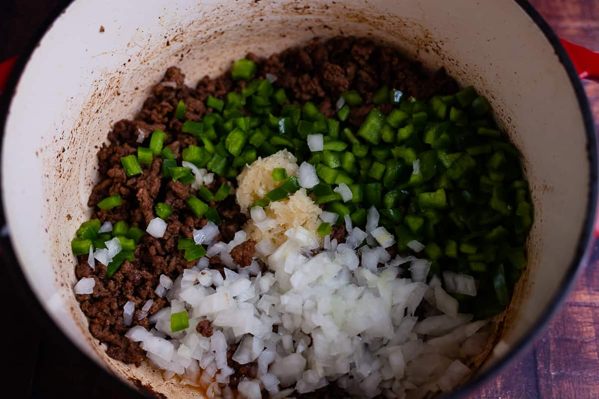 ground beef and peppers in a pot
