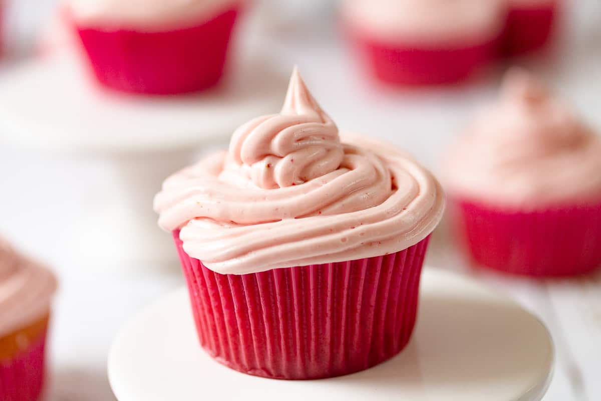 strawberry buttercream on a cupdate