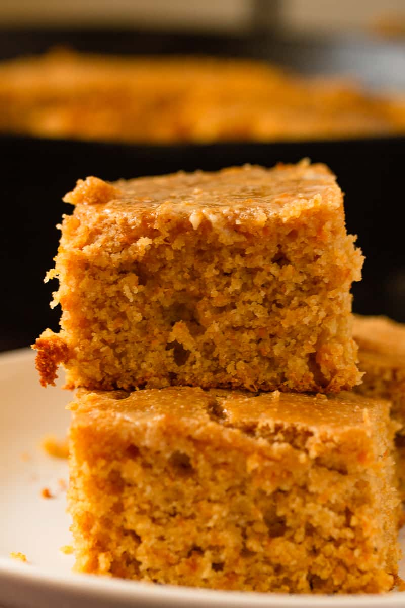 stack of sweet potato cornbread close up