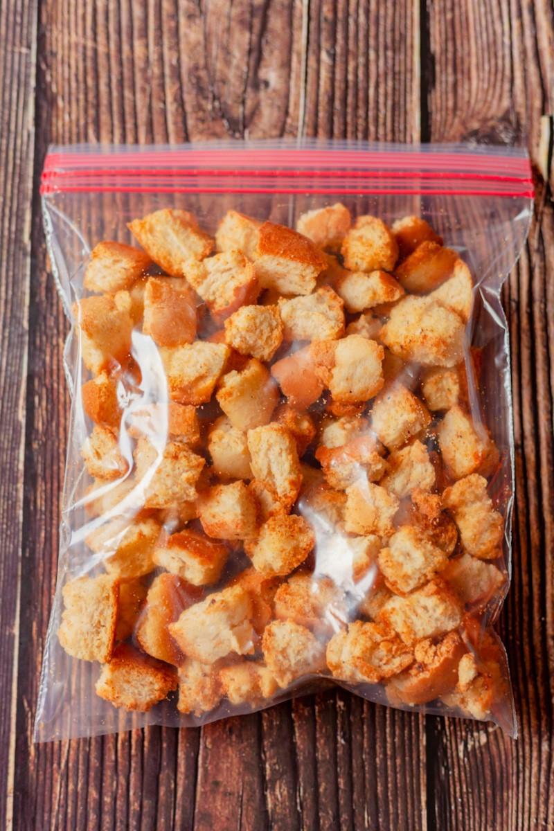 croutons in a zip lock bag