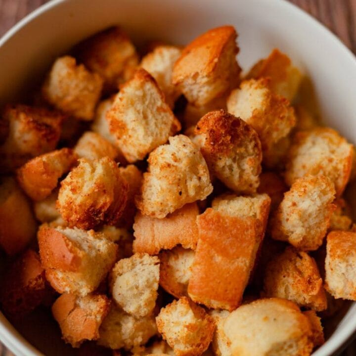 air fryer croutons in a bowl