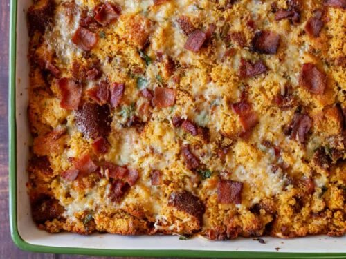 bacon parmesan cornbread stuffing in a baking dish