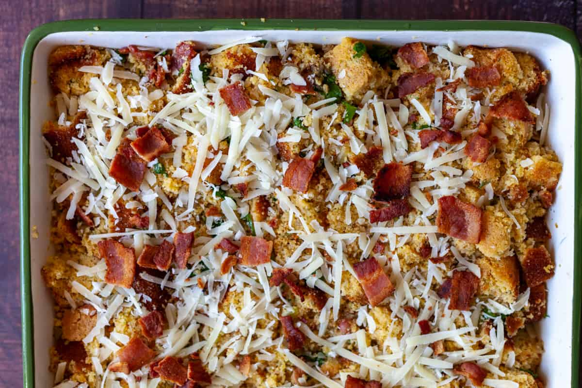 bacon parmesan conrbread stuffing before baking