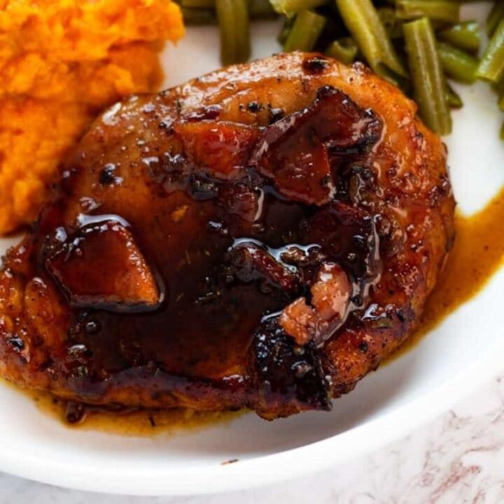 bacon brown sugar pork chops plated