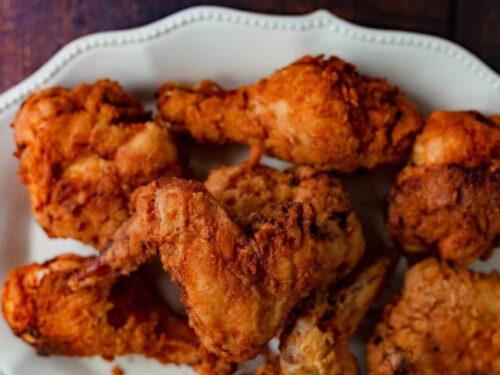 buttermilk fried chicken on a platter