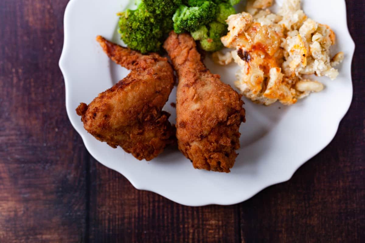 plated buttermilk fried chicken